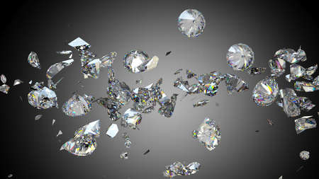 fake diamond: Broken and cracked diamonds or gemstones high resolution