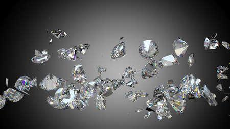 fake diamond: Broken and shattered diamonds or gemstones high resolution