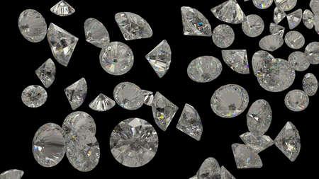 diamante negro: Diamantes o piedras preciosas aisladas sobre fondo negro