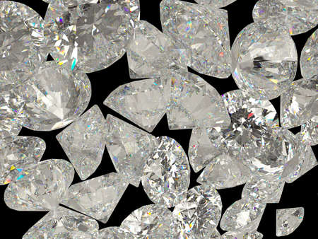 gems: Diamonds or jewelry gemstones isolated on black background