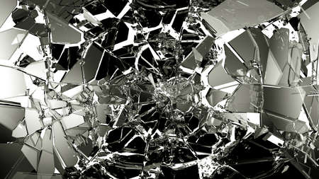 mirror: Broken and cracked glass isolated on white. high resolution