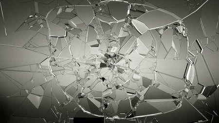 Los pedazos de vidrio roto en blanco. gran resolución
