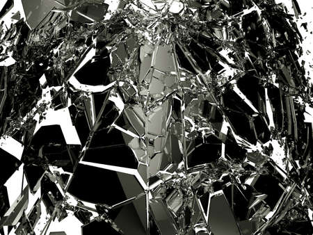 shattered: Pieces of Broken Shattered black glass isolated on white. Large resolution