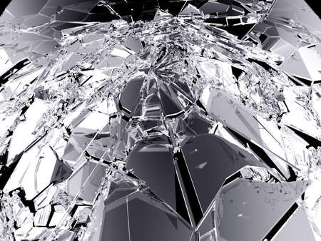 shattered: Pieces of demolished or Shattered glass on black Large resolution