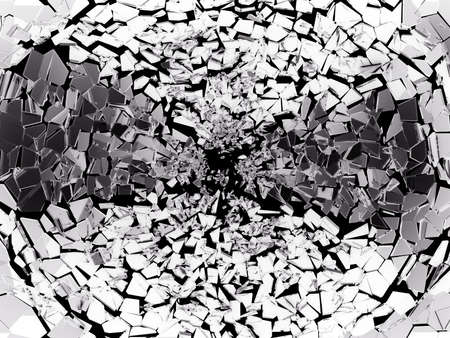 deformation: Pieces of splitted or broken glass on black. Large resolution