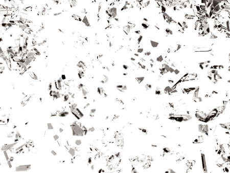 cracked glass: Pieces of broken or cracked glass on white Stock Photo