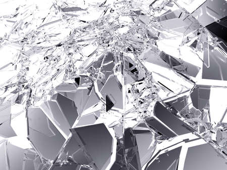 Many pieces of broken and Shattered glass on white. Large resolution