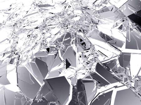 Molti pezzi di vetro rotto e frantumato su bianco. risoluzione di grandi dimensioni Archivio Fotografico - 54231248