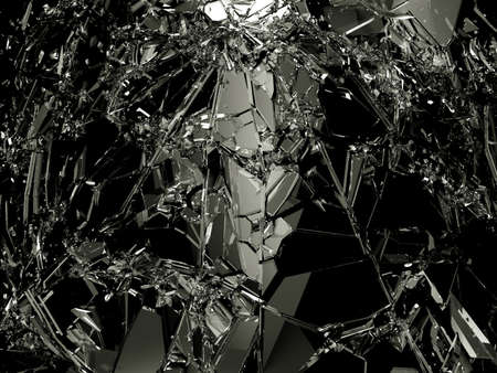 destructed: Pieces of destructed Shattered glass on white. Large resolution Stock Photo