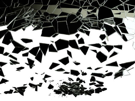 shattered glass: Pieces of shattered glass on white. High resolution Stock Photo