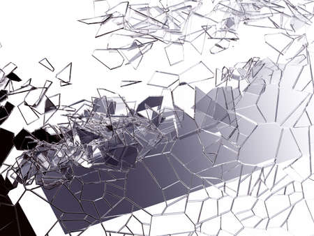 cracked glass: Pieces of splitted or cracked glass on white. Large resolution