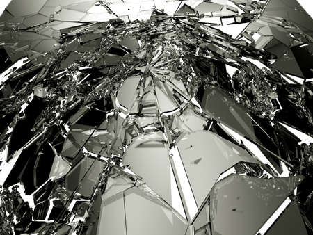demolished: Pieces of demolished or Shattered glass on white. Large resolution