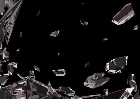 demolished: Sharp pieces of smashed glass isolated on black