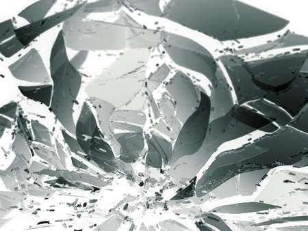 destructed: Destructed or Shattered glass pieces on white shallow DOF. Large resolution Stock Photo