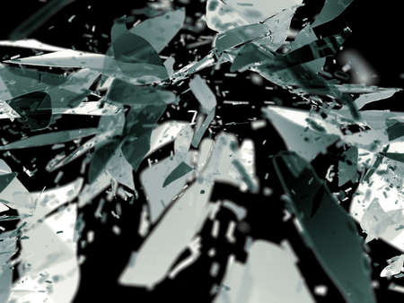 destructed: Destructed glass pieces isolated on black shallow DOF. Large resolution Stock Photo