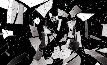 destructed: Pieces of destructed or Shattered glass isolated on black Stock Photo