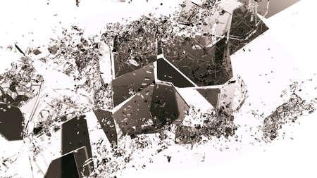 demolished: Pieces of broken or demolished glass on white. Large resolution