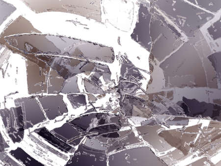 shattered glass: Many Pieces of demolished or Shattered glass on white Stock Photo