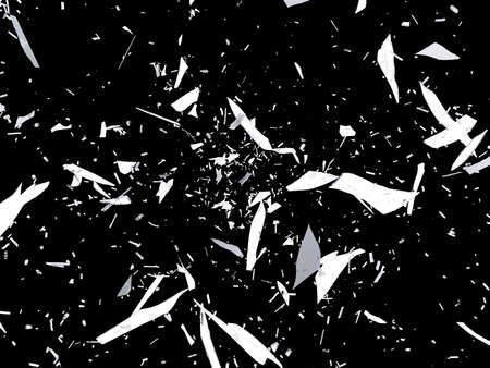 destructed: Pieces of destructed or Shattered glass on black