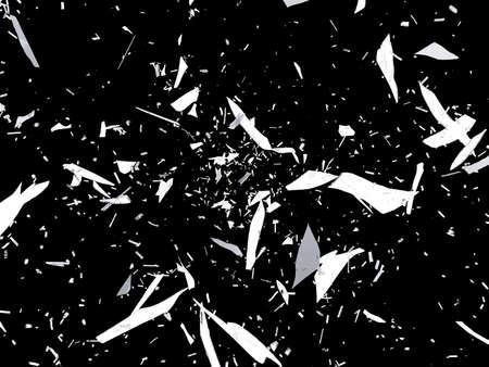 demolished: Pieces of destructed or Shattered glass on black