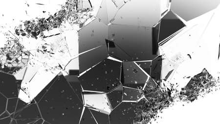 cracked: Cracked and damaged glass pieces on white. Large resolution