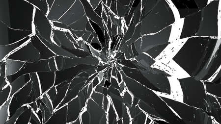 shattered glass: Pieces of demolished or Shattered glass isolated on white. Large resolution