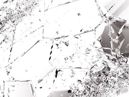 shattered glass: Shattered glass pieces on white background. Large resolution Stock Photo