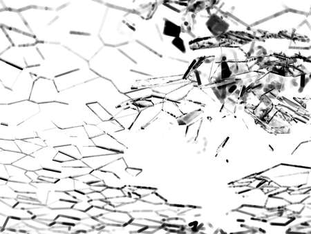 destructed: Destructed or broken glass pieces on white background. shallow DOF