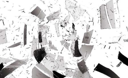 shattered: Destructed or Shattered glass on white. Large resolution