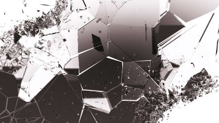 cracked glass: Shattered or cracked glass pieces on white. Large resolution