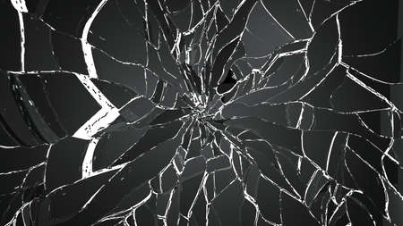shattered glass: Demolished and Shattered glass isolated on white. Large resolution Stock Photo