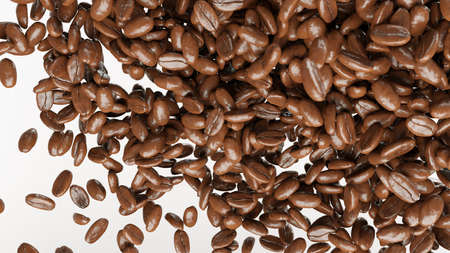 coffee beans: flying and mixing roasted coffee beans isolated on white Kho ảnh