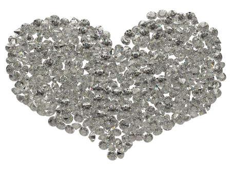 black stone: Large sparkling diamonds heart shape isolated on white Stock Photo