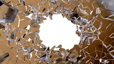 shattered glass: Bullet hole and pieces of shattered glass on white