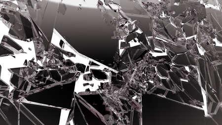 demolished: Demolished glass with sharp pieces on white