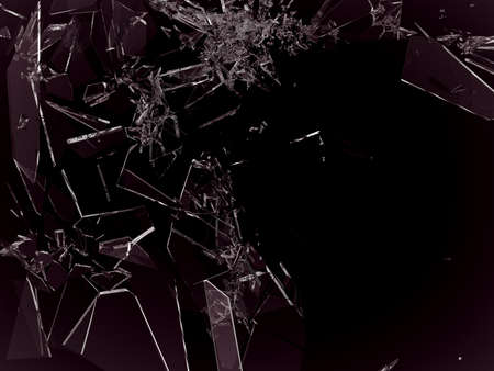 shattered glass: Pieces of demolished or Shattered glass on black isolated Stock Photo