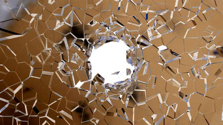 shattered glass: Broken shattered glass pieces isolated over white Stock Photo