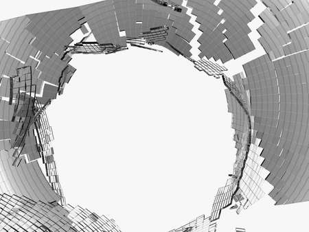 vandalism: Destructed cubic glass shape: damage and vandalism. On white