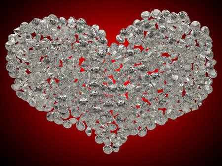 Sparkling gems or diamonds heart shape on red