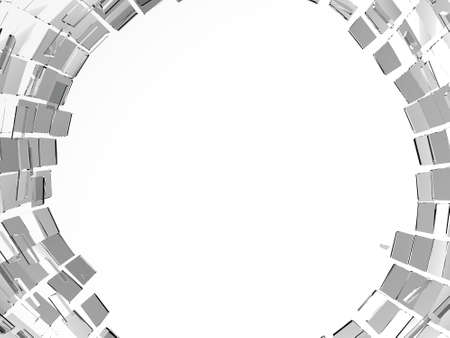 white hole: Pieces of cubic Shattered black glass isolated on white. Hole in the middle