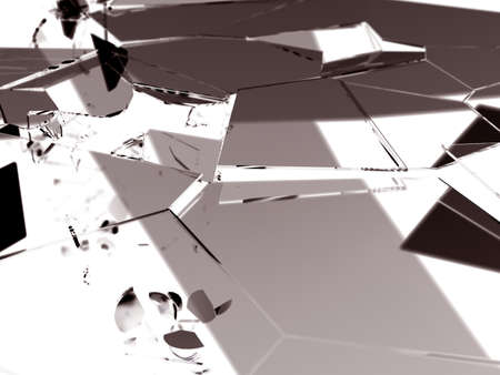 destructed: Pieces of destructed Shattered glass on white 3d render Stock Photo