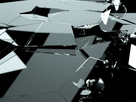 destructed: Pieces of destructed Shattered glass