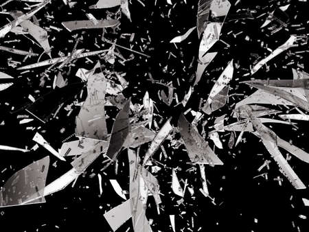 cracked: Sharp pieces of smashed glass isolated on black