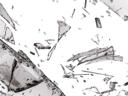 shattered glass: Destructed or Shattered glass isolated over white background Stock Photo