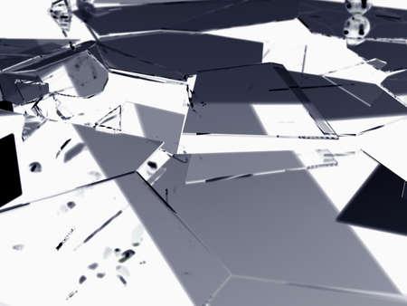 shattered: Shattered or demolished glass over white 3d render
