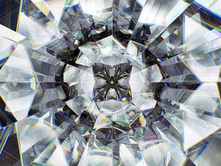 closeup view: diamond structure extreme closeup. top view of round gemstone 3d render Stock Photo
