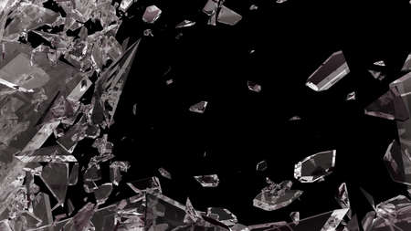 shattered: Pieces of shattered glass isolated on black. Large size Stock Photo