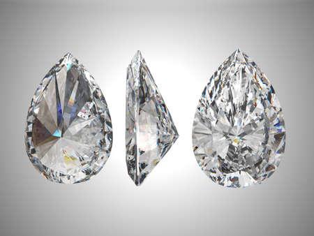 Three views of pear diamond 3d render Stock Photo
