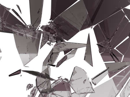 shattered glass: Pieces of Broken and Shattered glass on white
