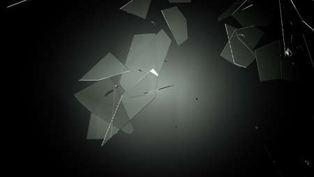 shattered: Splitted or Shattered glass on black. Large resolution Stock Photo